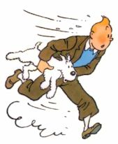 Enter Tintin at a run